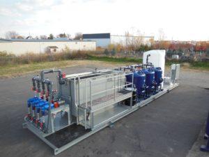 Mobile rental water treatment skid, oil/water separator, sand filters