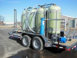 Rental carbon filter skid, mobile construction dewatering
